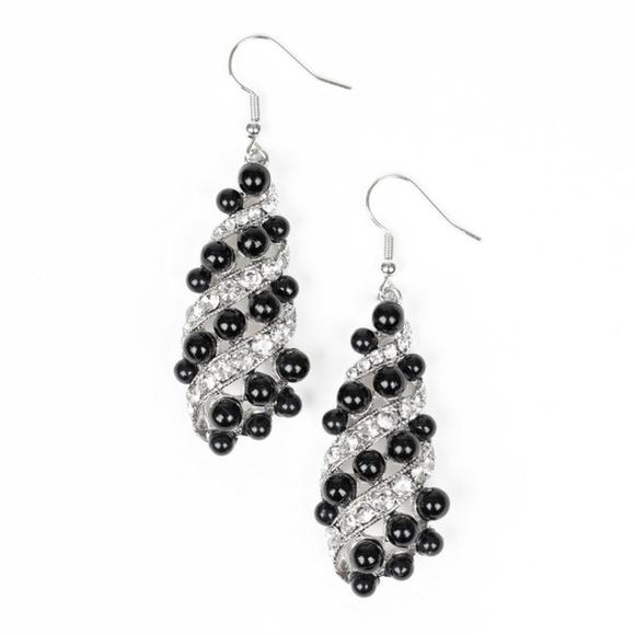 Fancy Silver Black Beaded & Rhinestone Earrings